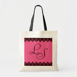 Lace Initials Pink Tote Bag