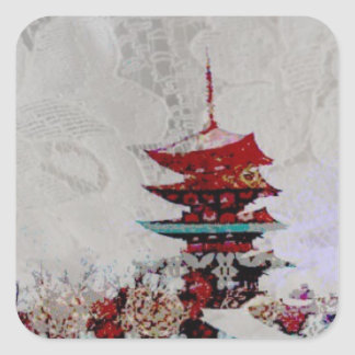 Lace Japanese Pagoda Gift Wrapping Series Square Sticker