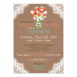Lace, Jar, Poppies, & Burlap Rustic Bridal Shower Personalized Invitation Card