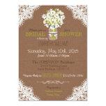 Lace, Jar, Poppies, & Burlap Rustic Bridal Shower 5x7 Paper Invitation Card