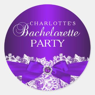 Lace & Jewel Bow Purple Bachelorette Sticker