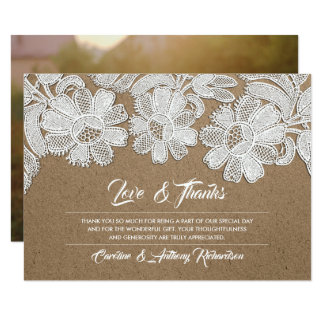 Lace | Kraft Paper Wedding Thank You Photocards Card