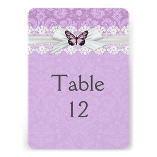 Lace Lavender Butterfly Damask Table card