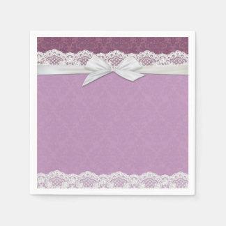 Lace Lavender Damask Ribbon Napkins