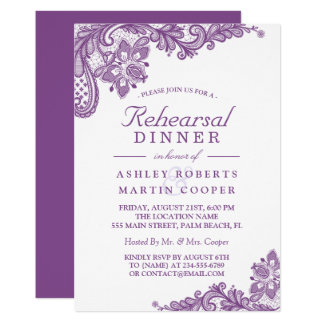 Lace Lavender Purple | Wedding Rehearsal Dinner Card