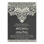 Lace Leather Rustic Black Ivory Biker Wedding Card