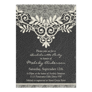 Lace Leather Rustic Vintage Ivory Bachelorette Personalized Announcements