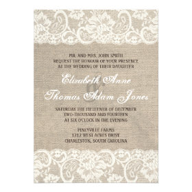 Burlap and Lace Wedding Invitations Rustic Country Wedding