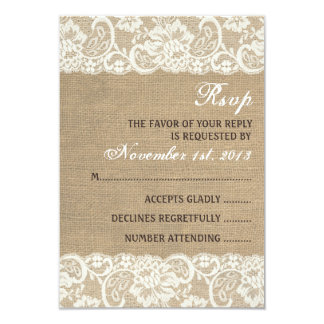 Lace Look Rustic WARM Burlap Wedding RSVP Card