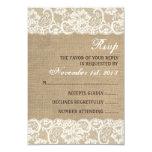 Lace Look Rustic WARM Burlap Wedding RSVP Card Announcement