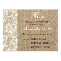 Lace Look Rustic WARM Burlap Wedding RSVP PostCard