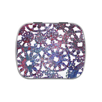 lace look stained glass image blue purple pattern candy tin