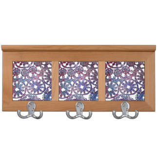 lace look stained glass image blue purple pattern coat rack