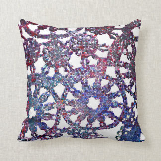 lace look stained glass image blue purple pattern throw pillow