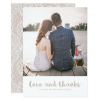 Lace Look Wedding Love and Thanks Photo Card