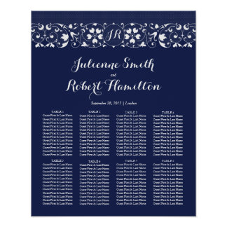 Lace Love | Monogram Wedding Seating Chart Poster