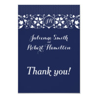 Lace Love | Monogram Wedding Thank You Card