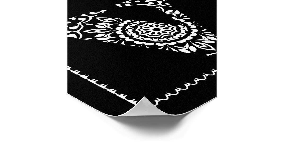 Lace Love Word Art Black White Poster Print | Zazzle