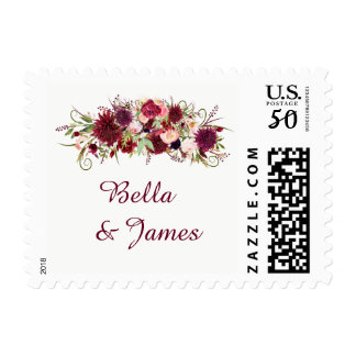 Lace Marsala Red Burgundy Fall Wedding Postage