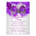 Lace Mask Purple Silver Masquerade Sweet 16 5x7 Paper Invitation Card