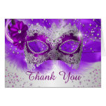 Lace Mask Purple Silver Masquerade Thank You Card