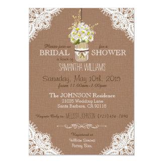 Lace Mason Jar Daisies Rustic Bridal Shower Card