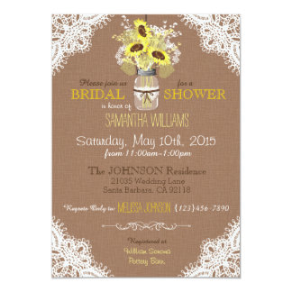 Lace Mason Jar Sunflower Rustic Bridal Shower 5x7 Paper Invitation Card