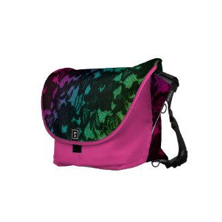 Lace Messenger Bag Green Pink