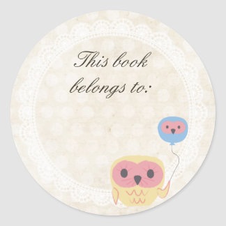 Lace Owl This Book Belongs To Name Sticker