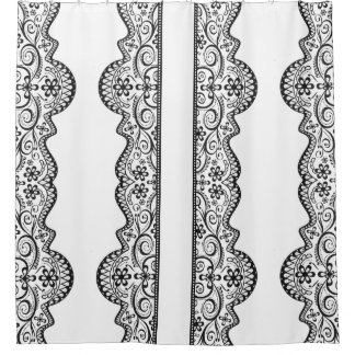 lace panel black and white elegant shower curtain