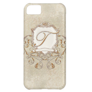 Lace Parchment Baroque Swirl Monogrammed Initial T iPhone 5C Case