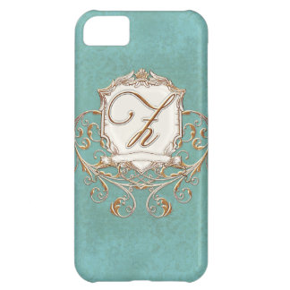 Lace Parchment Baroque Swirl Monogrammed Initial Z Case For iPhone 5C