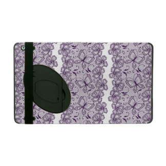 Lace pattern with butterflies iPad folio cases