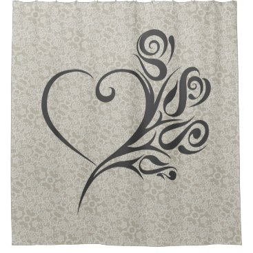 malhcreations Lace Pattern with Heart and Flowers Shower Curtain