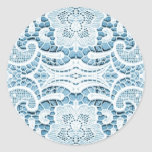 lace pattern with soft blue background round sticker