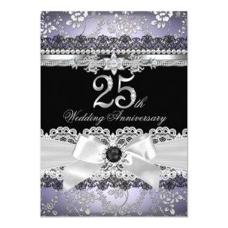 Lace & Pearl Bow Silver Purple 25th Anniversary Card