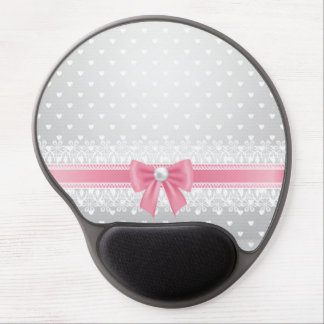 Lace,pearls,silver,white,girly,trendy,vintage,chic Gel Mouse Pad
