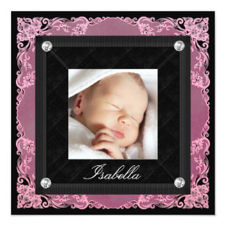 Lace Pink and Black Photo Birth Announcements