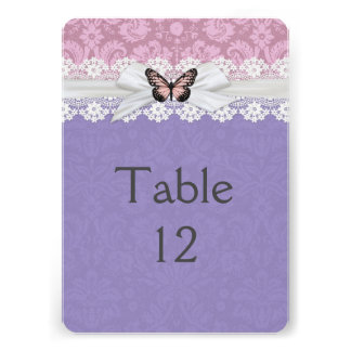 Lace Pink Blue Butterfly Damask Table card