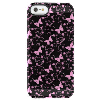Lace Pink Butterfly iPhone 5/5s Clearly™ Deflect. Clear iPhone SE/5/5s Case