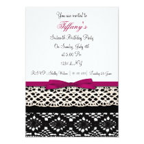 lace pink damask Sweet Sixteen party Invitation