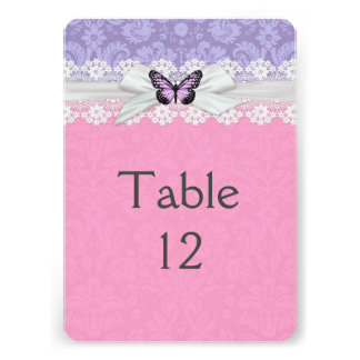 Lace Pink Lilac Butterfly Damask Table card