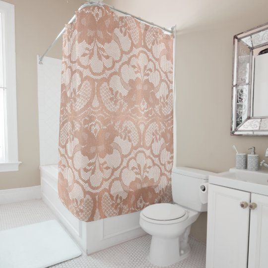 Lace Pink Rose Gold White Blush Floral Shower Curtain