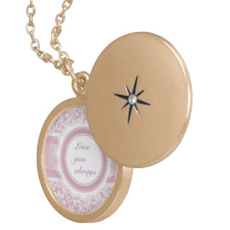 Lace,pink,victorian,cute,girly,lovely,template,fun Round Locket Necklace