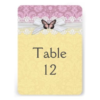 Lace Pink Yellow Butterfly Damask Table card