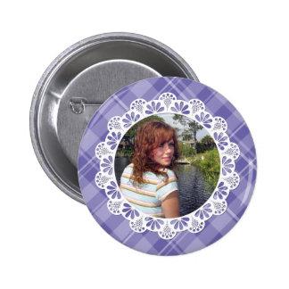 Lace & plaid design -purple flower petal- buttons