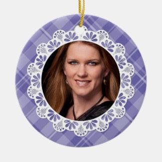 Lace plaid design -purple flower petal- christmas tree ornaments