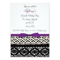 lace purple damask Sweet Sixteen party Invitation