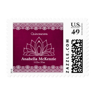 Lace Quinceanera (Maroon) Postage Stamps