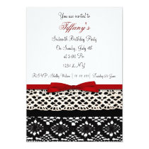lace red damask Sweet Sixteen party Invitation